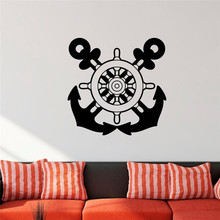 Nautical Wall Decal Anchors Stickers Ship Wheel Decor Custom Color Vinyl Wall Stickers Home Decor Living Room Bedroom Wall