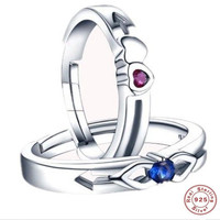 YKNRBPH S925 Sterling Silver Men's Ring Blue and Purple Diamond Fashion Engagement Zircon Fine Jewelry Open Rings