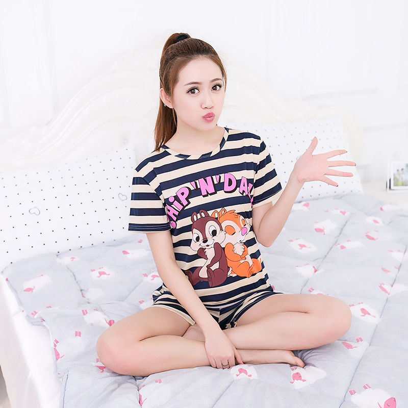 Aliexpress.com   Buy Women Pajamas Sets Hot Summer Short Sleeve Thin Cotton  Cartoon Print Cute Loose Sleepwear Girl pijamas Mujer Nightgown For Women  from ... d1c8d2315