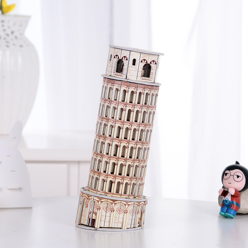 Italy Construction Pisa Tower Building Model 3D Puzzle Jigsaw High Quality Scale Paper Houses Puzzle Toys Baby Educational Gifts series s 3d puzzle paper diy papercraft double decker bus eiffel tower titanic tower bridge empire state building