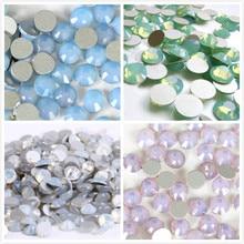 All Sizes Blue/Green/White/Pink Opal Crystal Nail Art Rhinestone decorations 3D Flatback Glass Non HotFix Garment
