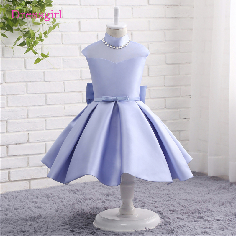 New 2019   Flower     Girl     Dresses   For Weddings A-line Long Sleeves Satin Lace First Communion   Dresses   For Little   Girls