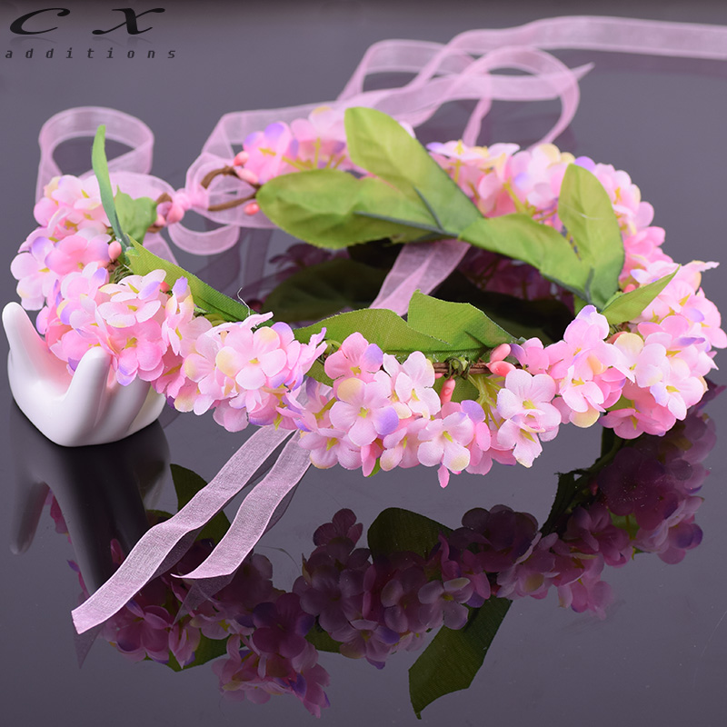 CXADDITIONS Adjustable Silk Ribbon Hair Wreath Gradient Babysbreath Flower Crown Woodland Hairpiece Wedding Rustic Accessories