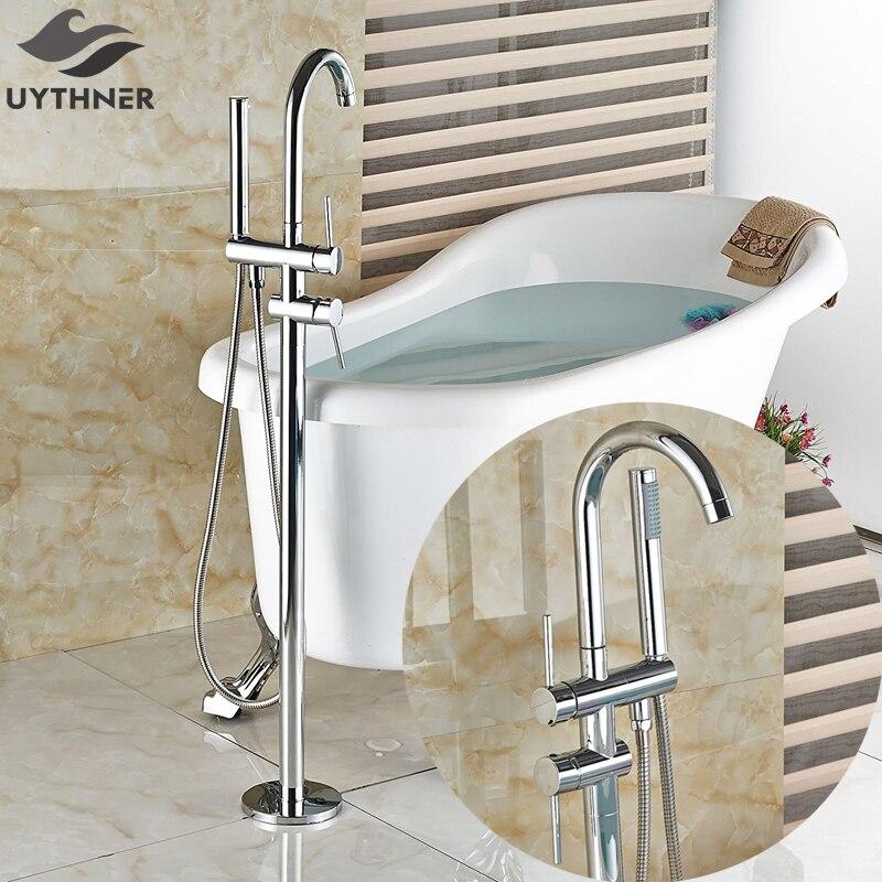 Neu Freistehende Badewanne Bad Wasserhahn Chrom Polnischen Dusche Bad  Montieren Boden Badewanne Wasserhahn Mischer Mit Hand Dusche
