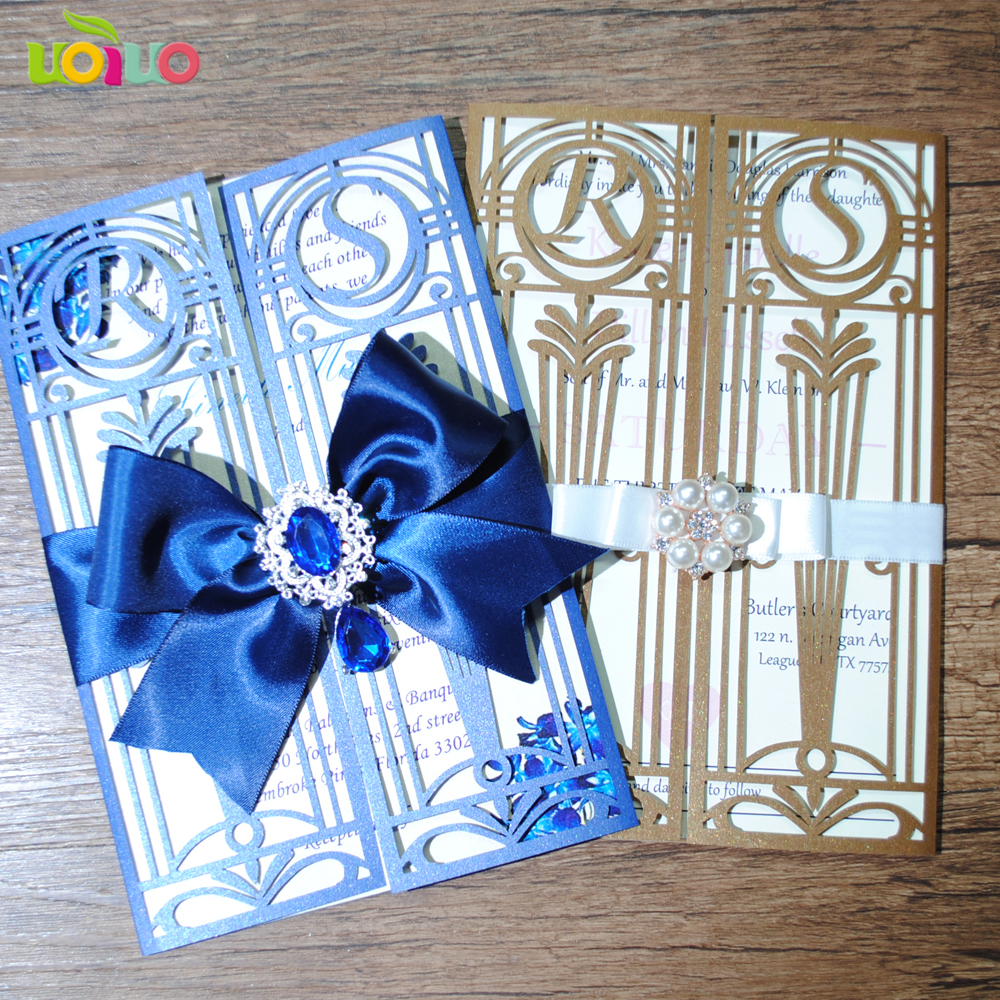 Unique luxurious wedding cards laser cut menu dinner card gate style marriage invitation cards simple design free logo