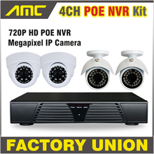 2017 New 4CH Channel CCTV NVR POE System 2PCS Dome IP Camera 2PCS Bullet IP Camera 4CH 720p NVR Kit Video Surveillance System