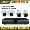 2015 New 4CH Channel CCTV NVR POE System 2PCS Dome IP Camera 2PCS Bullet IP Camera