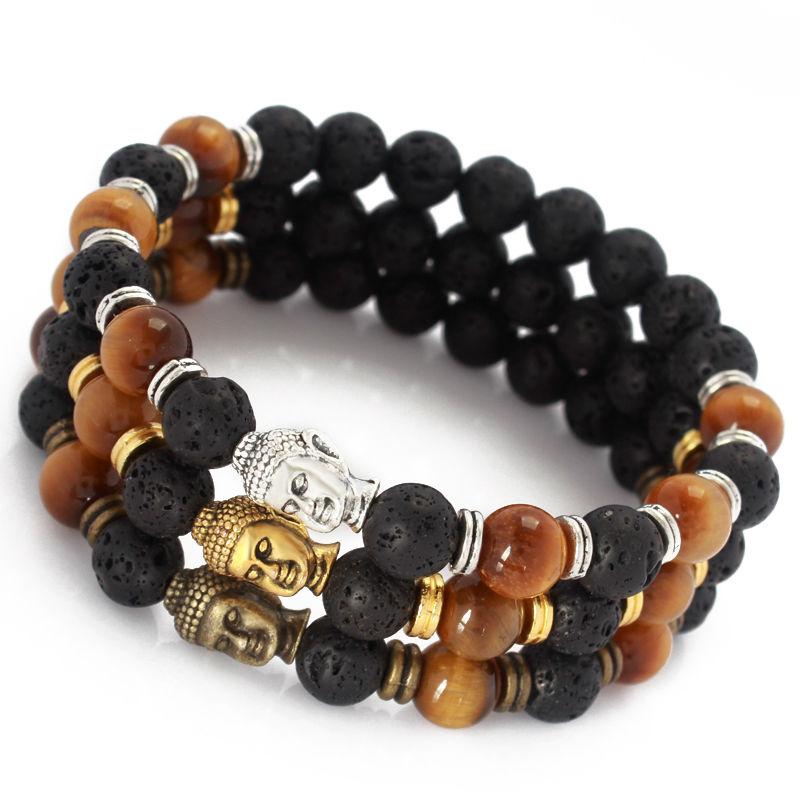 2015 Hot Sale Jewelry Mala Bracelet Yoga Chakra OM Yoga Tiger Eye Black Lava Gold Buddha Bracelet Energy Stone Beads