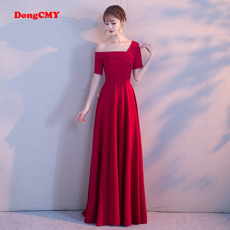 DongCMY 2019 New Arrival   Evening     Dress   burgundy Embroidery Luxury Satin Sexy Long Elegant Robe De Soiree Gown