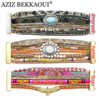 AZIZ BEKKAOUI Charm Bracelets Bangles Multilayer Wide Bracelets For Women Summer Bohemian Bracelet With Magnetic Clasp