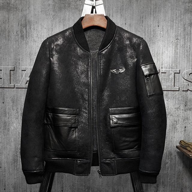America B3 Flight Jacket Black Short Fur Leather Jacket Men S