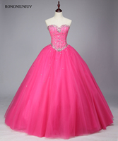 Quinceanera Dresses 2017 Tulle Beading Crystal Red Pink Vestidos De 15 Anos Sweet 16 Dresses Debutante