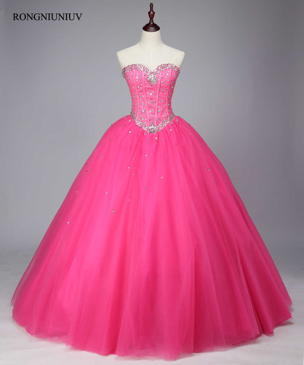 9a2a38063 Quinceanera Vestidos 2019 cordón tul cristal rojo rosa Vestidos De 15 años  dulce 16 Vestidos Debutante