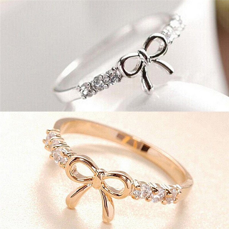 Fashion Korean Jewelry Simple Crystal Bow Ring Bow Tie Beautiful