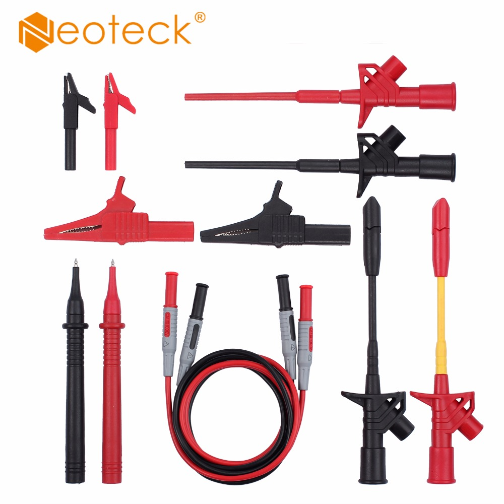Neoteck 12-in-1 Electronic Test Lead Kit Electronic Universal Multimeter Probe Test Leads Includes Lead Extensions Test Probes gottlieb basic electronic test procedures 2ed paper only
