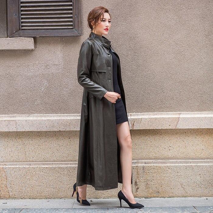 Long Stand En Mince Mode Hiver Nouvelle Veste Trench Green Black Poitrine Automne Femmes Unique army Manteau Outwear Daim 2018 Collier Cuir De IwTx7