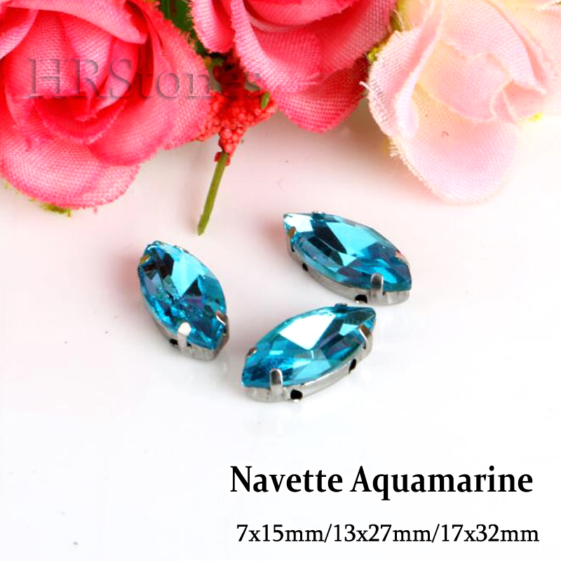 Navette Shape Strass Aquamarine Sewing On Rhinestones 7x15mm 13x27mm 17x32mm Claw Rhinestones For DIY Wedding Evening Dress