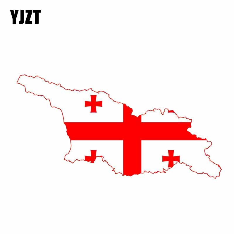 YJZT 14.5CM*7.3CM Creative Car Styling Georgia Flag Map StickerS Motorcycle Car Accessories 6-0849
