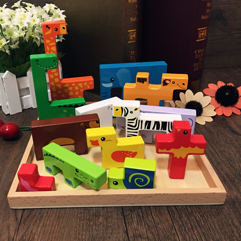 Children's toys wood animal cartoon blocks mini toys Interesting building blocks early education to cultivate imagination an empathetic approach to physical education teacher education