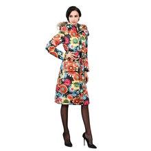 2016 Winter Plus Size Down Cotton Jacket Women Parka Ultra Long Print Coats Female Slim Ladies Jackets Thicken Women Coat