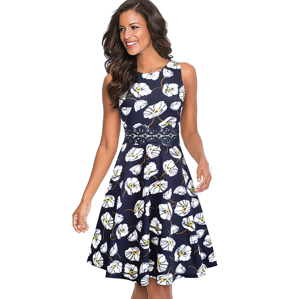 Nice-forever Vintage Elegant Embroidery Floral Lace Patchwork vestidos A-Line Pinup Business Women Party Flare Swing Dress A079 73