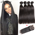 Peruvian Virgin Hair With Frontal 4Bundles Peruvian Virgin Hair Straight With Closure Beauty Human Hair Extensions With Closure