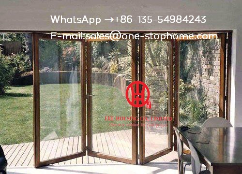 Porte en verre de à deux volets en aluminium d'oem/ODM, conception se pliante de portes pour la maison, accordéon extérieur a adapté la porte bi-pliante en aluminium