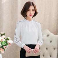 IRicheraf Mulheres Chiffon Blusas Manga Comprida 2017 Nova Moda Coreana Gola Beading Ladies Shirts Tops Venda Quente Branco Preto