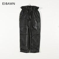 Women Pants Genuine Sheepskin Elastic Waist Black 2018 Winter New Fashion Real Leather High Waist Real Leather Ladies Long Pants
