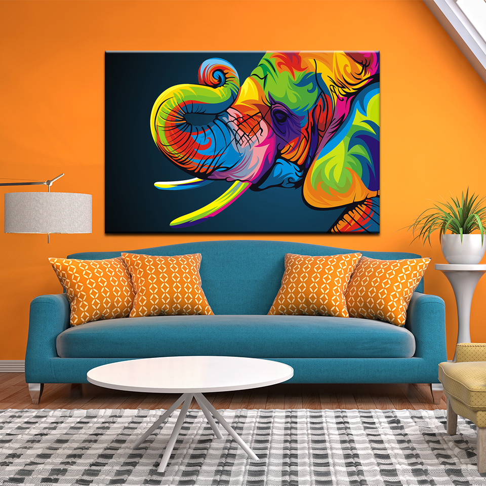 Abstract watercolor Colourful diagram Wall Art Canvas Painting Animal Elephant Mural Home Decor Living Room Picture Poster in Painting Calligraphy from Home Garden