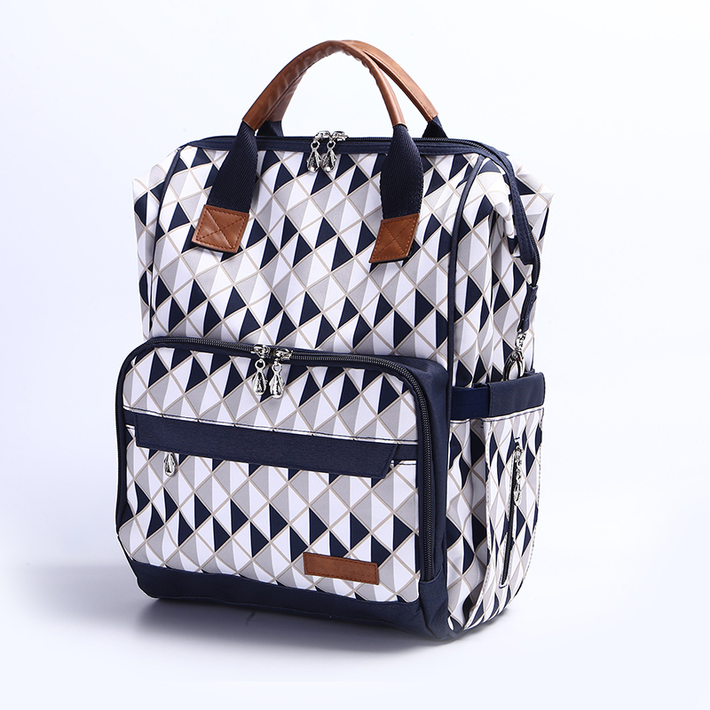 Brand new multifunctional waterproof blue gray plaid mommy bag diaper nappy backpack for travel messenger bag