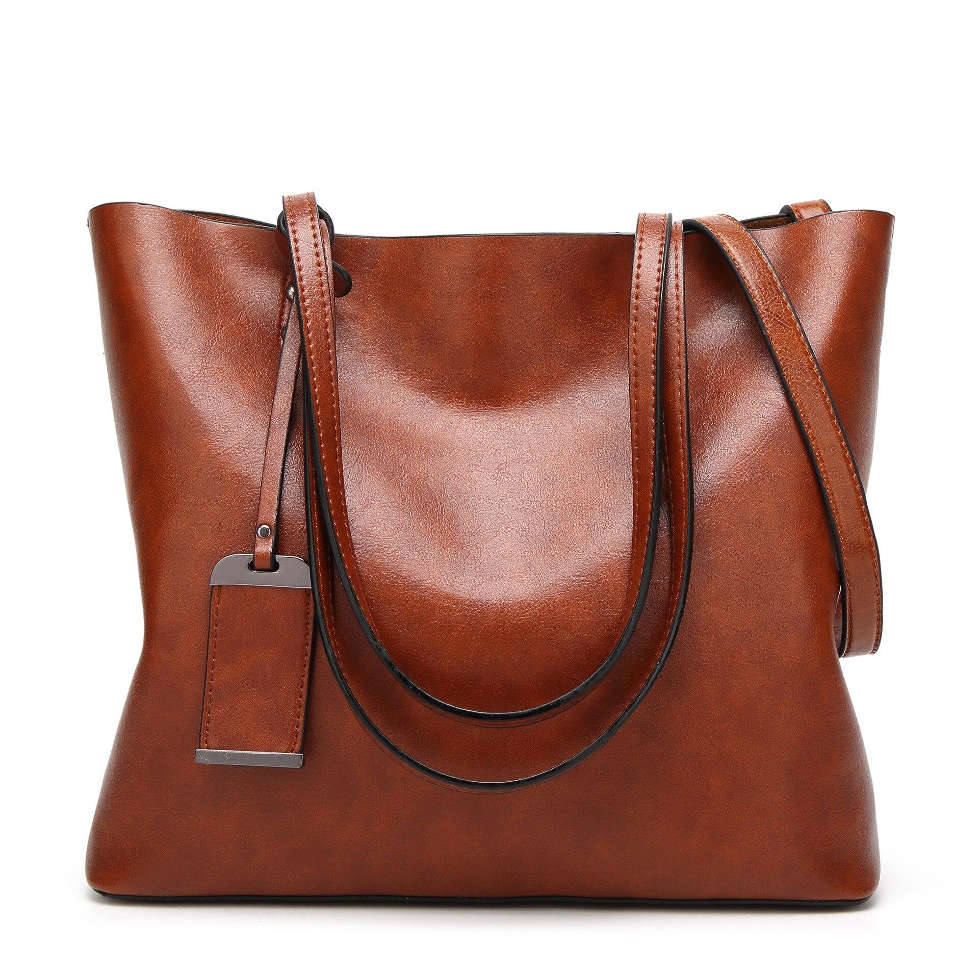 Image 2 - Сумка ведро из вощеной кожи, простая сумка через плечо с двойным ремешком для женщин 2018, универсальная сумка для шоппингаСумки с ручками   -