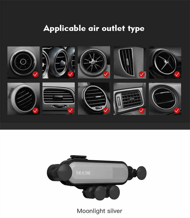 Universal Car Mobile Phone Gravity Car Air Vent Mount Bracket Outlet Clip Phone Holder 360 Degree Rotation For Iphone X Samsung