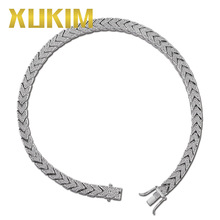 Xukim Jewelry Full Iced Out Prong Setting AAA Cubic Zirconia Silver Color 8mm Squire Cuban Chain Necklace Hip Hop Rapper Jewelry цены