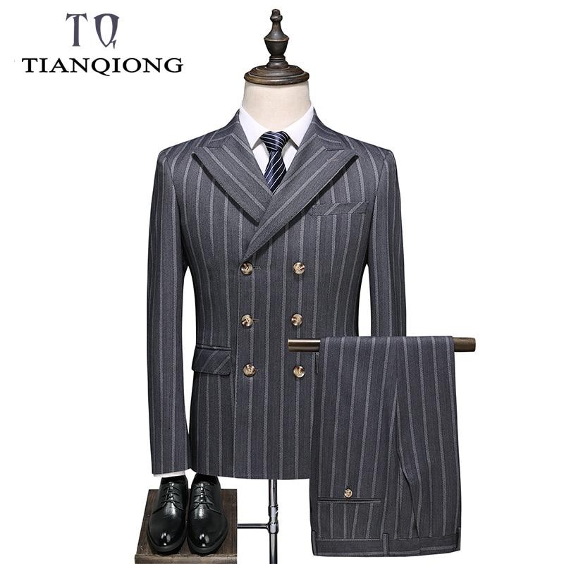 TIAN QIONG Gary Stripe Suits Men 2019 New Spring Autumn Slim Fit Wedding Suits For Men Costume 3 Pieces Homme Formal Suit Man