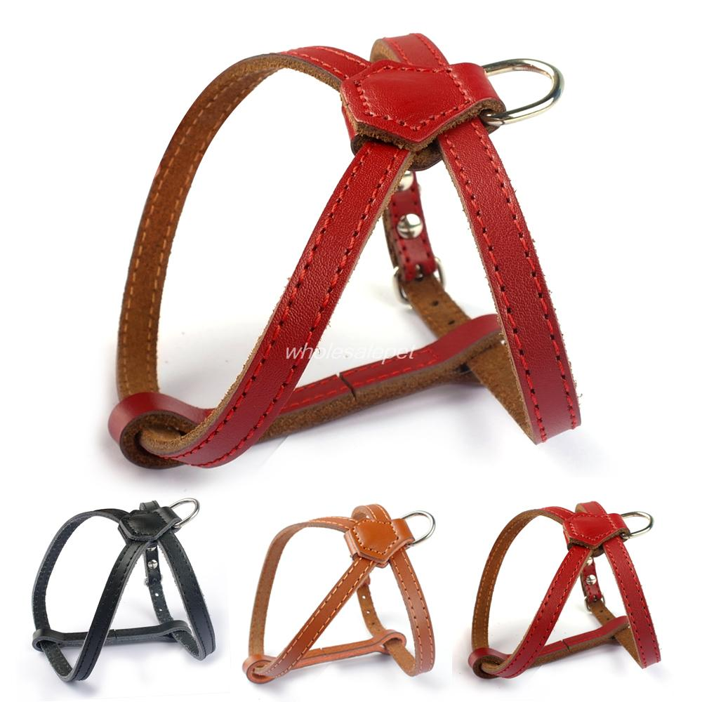 Leather Small Dog Cat Harness Puppy Harnesses Vest Black Red Brown