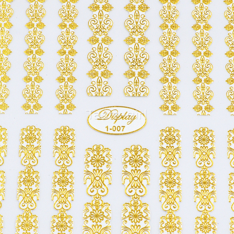 Kiváló minőségű 3d arany (fehér) körömlakk matricák - Köröm művészet