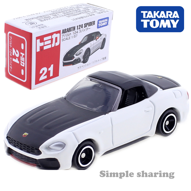 TAKARA TOMY TOMICA No.21 ABARTH 124 SPIDER Roadster Model 1:57 Diecast Miniature Sports Car Toy Metallic Kids Toys Collection