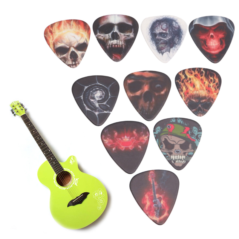 10Pcs 0.71mm Guitar Accessories Skull and Bones Rock Band Two Side Earrings Pick Musical Accessories Guitar Pick Drop Ship