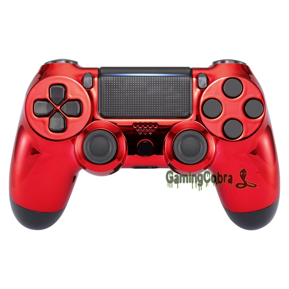 Chrome Red Edition Front Housing Shell Faceplate Cover for PS4 Slim & for PS4 Pro Controller - JDM-040 JDM-050 JDM-055