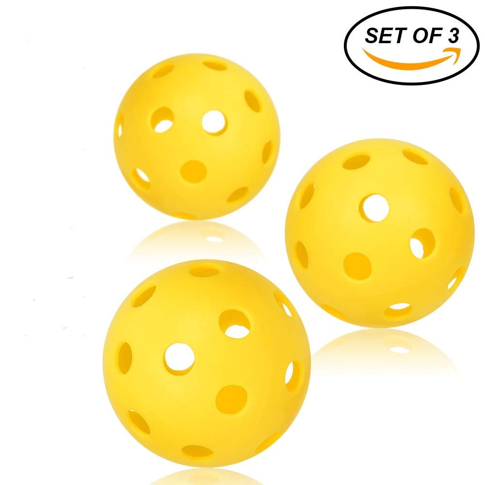 Professional Patented 26 Hole Design Pickleball Balls Set Of 3 Outdoor & Indoor Pickleballs Golf Practice Ball Free Shipping