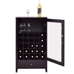 Классический художественный прочный деревянный дом большой емкости 25 бутылок винные стойки с ящиком элегантный из стекла дверные вешалки ...