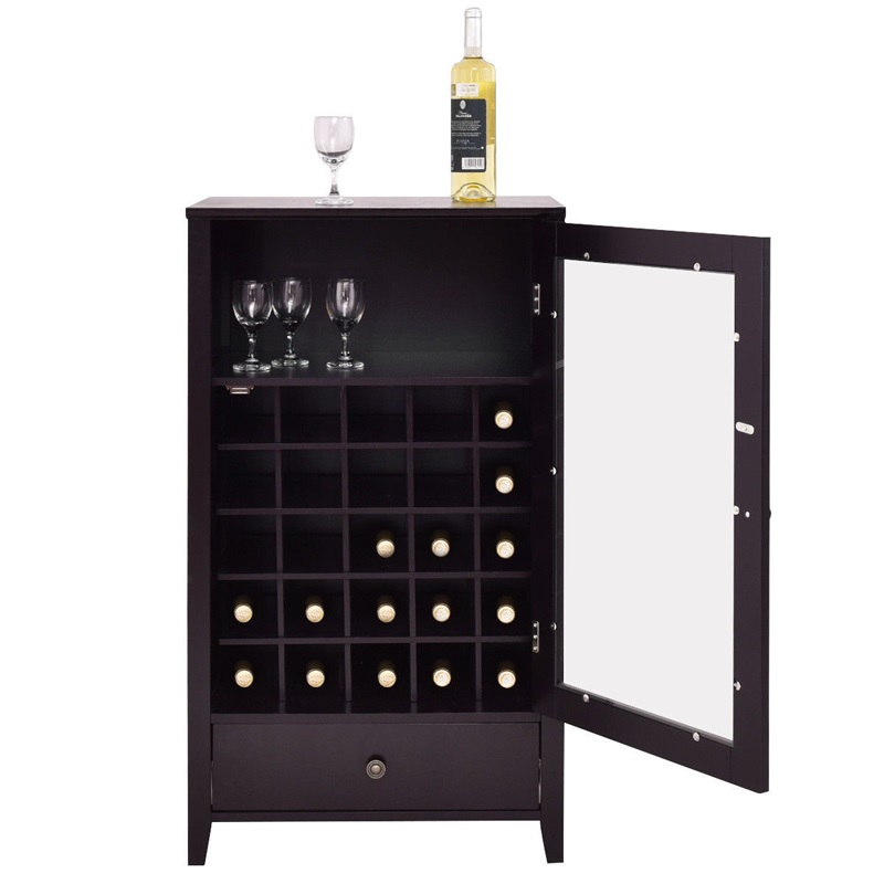 Classical Artistic Durable Sturdy Wooden Home Large Capacity 25 Bottles Wine Racks With Drawer Elegant Glass Door Racks HW55017