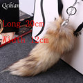 12*30cm Large Faux Fox Fur Tail Keychain For Women Bags Charm Handbag Pendant keychain Accessory For Valentine's Day Gift