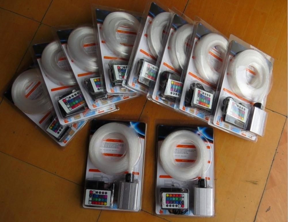 ФОТО 5W RGB LED light engine+ 150pcs 0.75mm 2M long end glow PMMA optical fiber kit+24key IR remote
