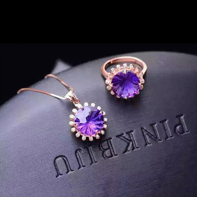 Natural Gemstone Jewelry Amethyst Rose Gold Fireworks Women 925 Silver Jewelry Set Wedding Ring/Necklace Set Fine Jewelry YJS020