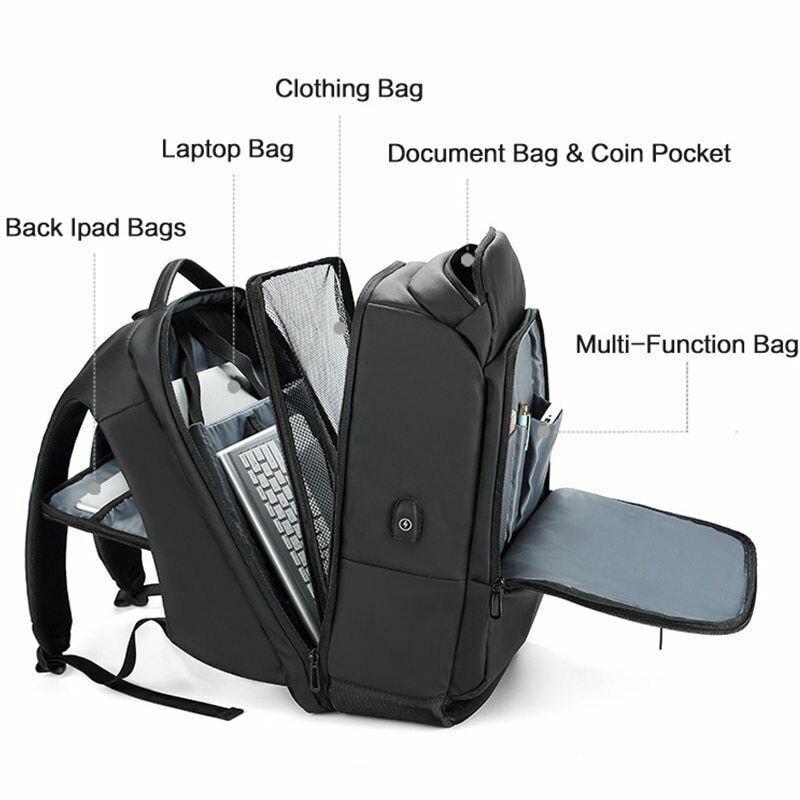 Sac à dos pour ordinateur portable pour homme sac à dos multifonctionnel étanche avec Port USB pour voyage en plein air OH66
