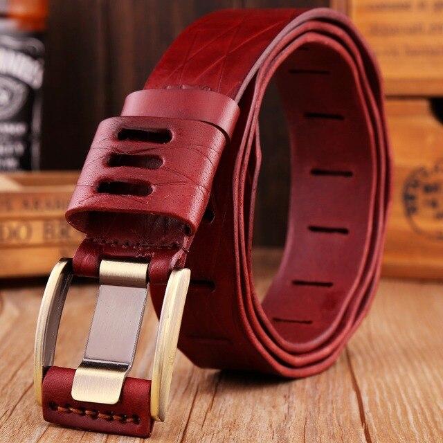 2017 new arrival 135 cm 140 big plus size belt for women mens belts luxury designer strap cowboy 100% real genuine leather red