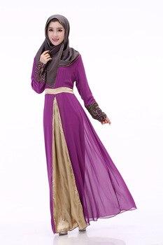6dd83fa66f2160d Модные мусульманское платье-Абая исламской Костюмы для Для женщин длинные  платья халат мусульманин турецкий шифоновое платье туника Туник..