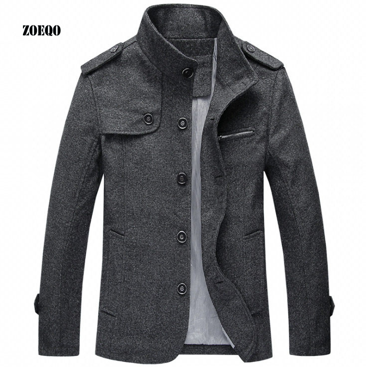 ZOEQO Men's trench coat man stand collar casual jacket, male wool Fashion Jacket Slim Fit Jackets Mens plus size 4XL
